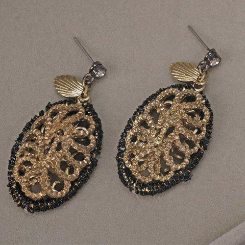 Pair of Vintage Hollow Out Leaf Women's Earrings - GOLDEN