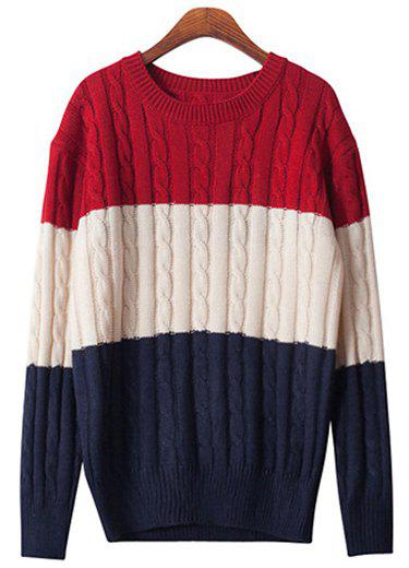 Chic Long Sleeve Round Neck Hit Color Women's Sweater - BLUE M