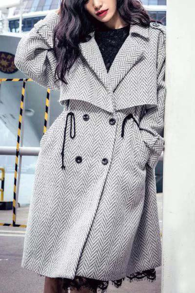 Fashionable Women's Turn-Down Collar Double-Waisted Worsted Coat - GRAY M