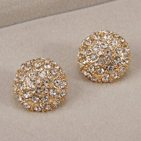 Pair of Rhinestoned Round Stud Earrings - GOLDEN