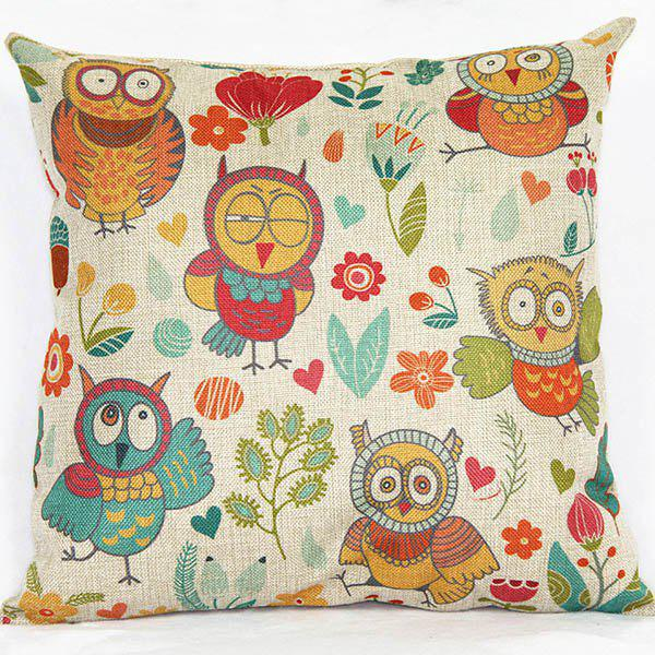 Charming Colorful Owl Printed Square Composite Linen Blend Pillow Case