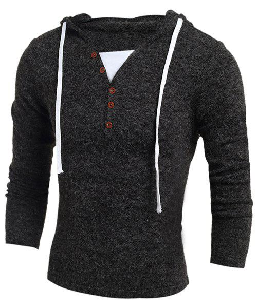 Single-Breasted Drawstring Hooded Solid Color Slimming Long Sleeves Men's Thicken Sweater - M DEEP GRAY