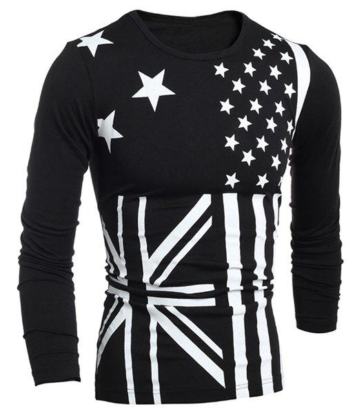 Classic Union Jack and American Flag Print Round Neck Long Sleeves Men's Slimming T-Shirt - BLACK L
