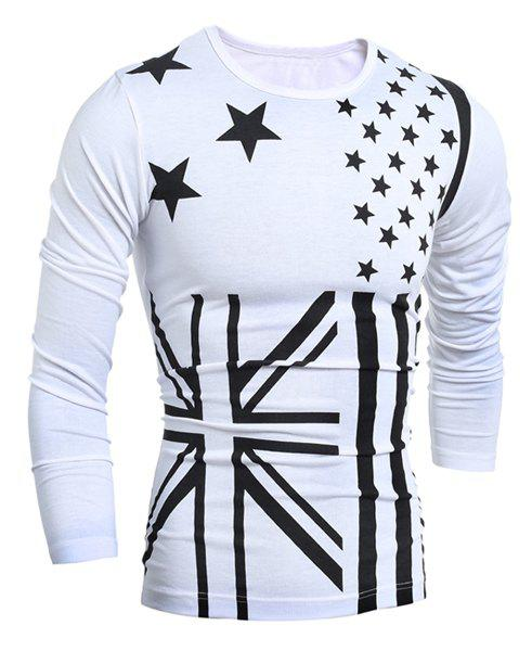 Classic Union Jack and American Flag Print Round Neck Long Sleeves Mens Slimming T-Shirt