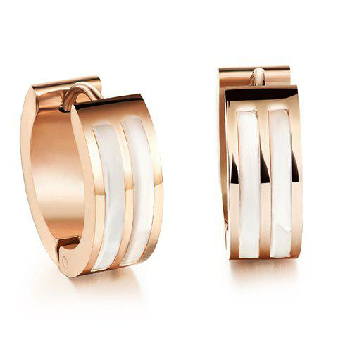 Pair of Delicate Shell Decorated Hoop Earrings For Women - ROSE GOLD