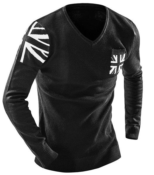 One Pocket Union Jack Intarsia Geometric Pattern Slimming V-Neck Long Sleeves Men's Sweater - BLACK M