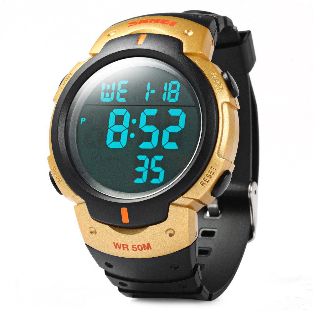 Skmei 1068 Military Army LED Watch Water Resistant Stopwatch Alarm Day Date Function - GOLDEN