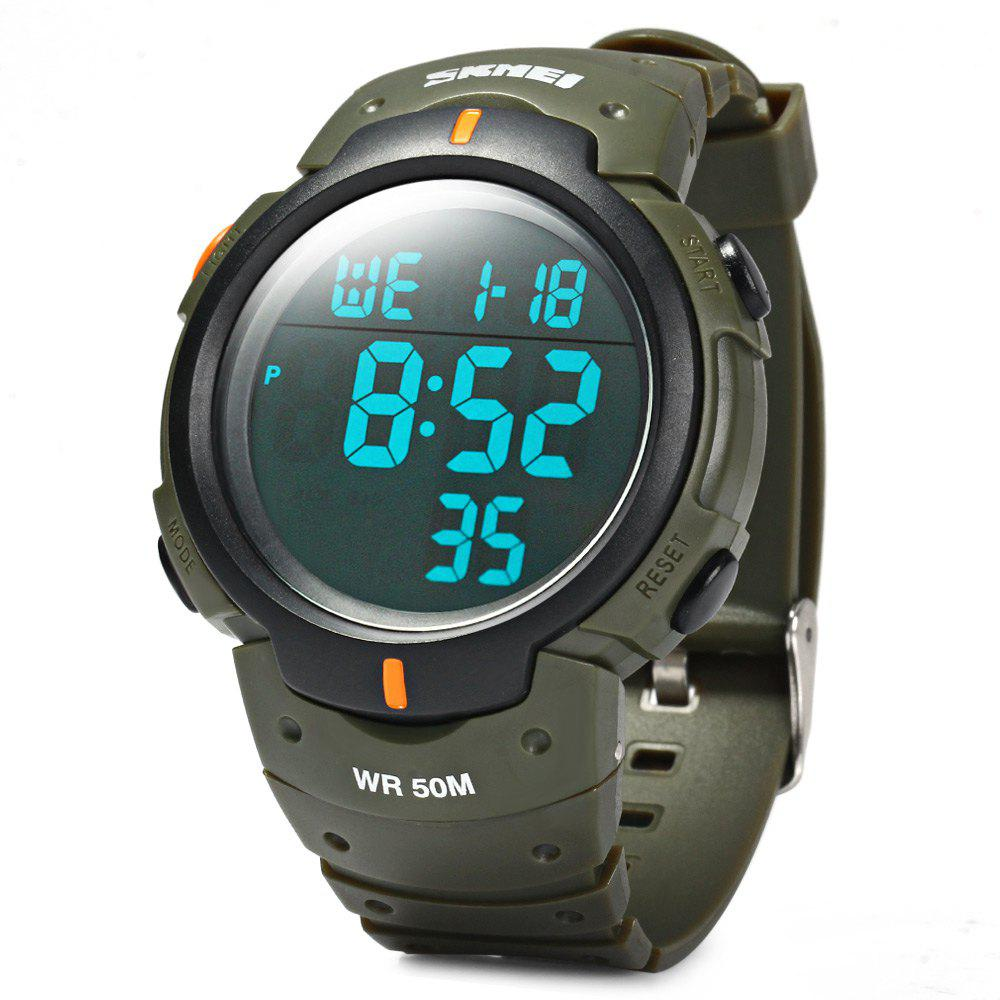 Skmei 1068 Military Army LED Watch Water Resistant Stopwatch Alarm Day Date Function - ARMY GREEN