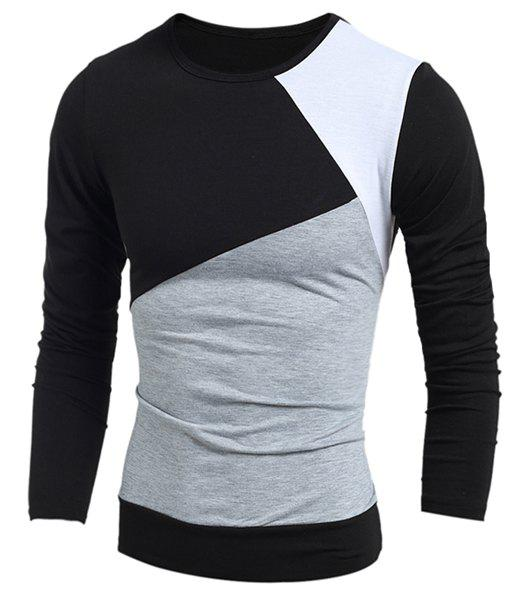 Round Neck Long Sleeves Multicolor Panel T-Shirt - BLACK L