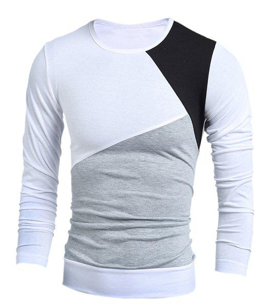 Round Neck Long Sleeves Multicolor Panel T-ShirtMen<br><br><br>Size: M<br>Color: WHITE