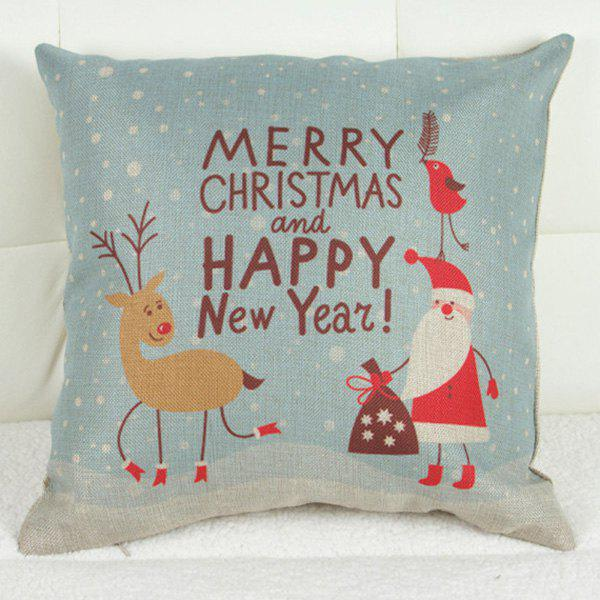 Lovely Christmas Pattern Printed Square Composite Linen Blend Pillow Case - COLORMIX