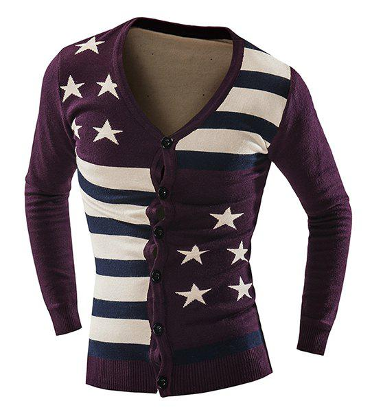 Vogue Slimming V-Neck American Flag Jacquard Color Block Men's Long Sleeves Thicken Cardigan - PURPLISH RED XL