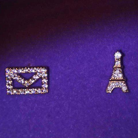 Pair of Chic Rhinestoned Square Tower Asymmetric Earrings For Women