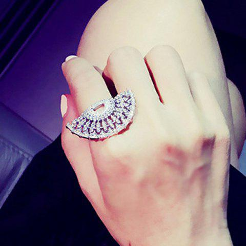 Chic Rhinestoned Fan-Shaped Ring For Women - SILVER ONE-SIZE