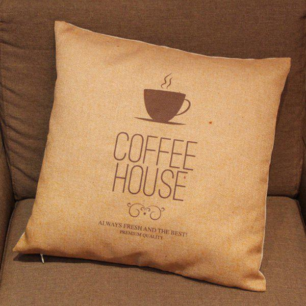 Stylish Coffee Cup Pattern Printed Square Composite Linen Blend Pillow Case - COLORMIX