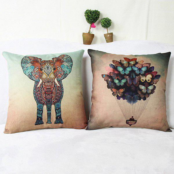 Stylish Color Animal Pattern Printed Square Composite Linen Blend Pillow Case - RANDOM COLOR PATTERN