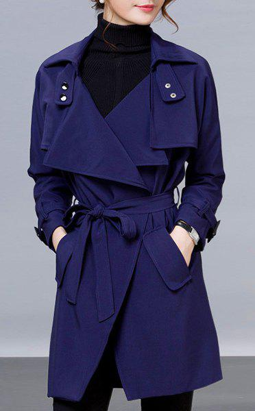 Women's Stylish Long Sleeve Belted Pocket Solid Color Trench Coat - CADETBLUE S