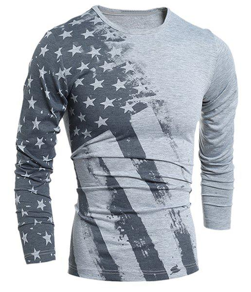 Personality Star Stripes Irregular Print Color Block Slimming Round Neck Long Sleeves Men's T-Shirt - M GRAY