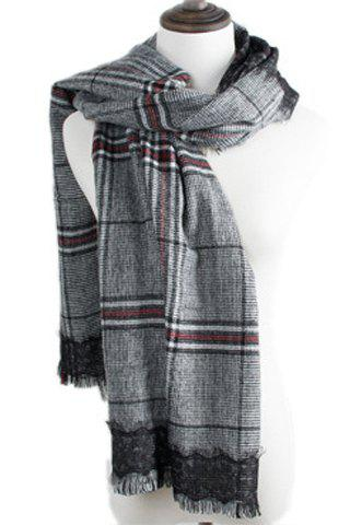 Chic Fringed Edge and Black Lace Embellished Plaid Pattern Women's Scarf - BLACK