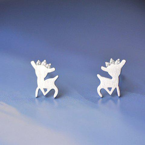 Pair of Cute Solid Color Deer Earrings For Women - SILVER