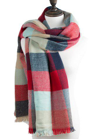 Chic Multicolor Plaid Pattern Fringed Edge Women's Scarf - RED