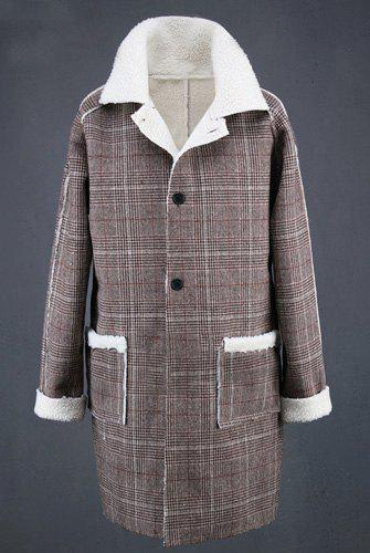 Vogue Turn-down Collar Wool Spliced Patch Pocket Hit Color Plaid Long Sleeves Slimming Men's Trench Coat - LIGHT BROWN XL