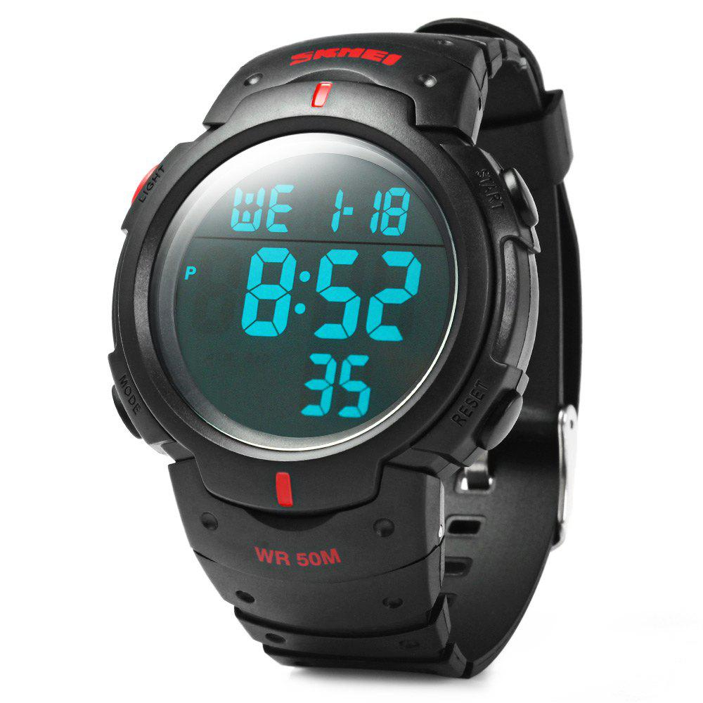 Skmei 1068 Military Army LED Watch Water Resistant Stopwatch Alarm Day Date Function - RED