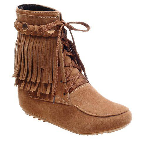 Fashionable Fringe and Lace-Up Design Short Boots For Women - LIGHT BROWN 37