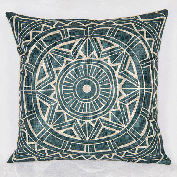 Fashionable Geometric Printed Square Composite Linen Blend Pillow Case - COLORMIX