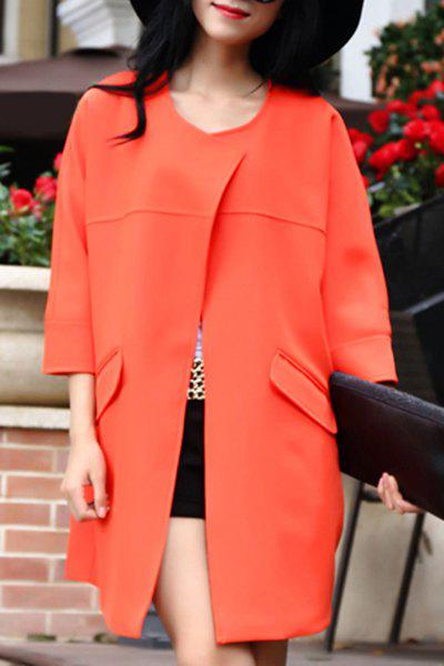 Graceful Solid Color Scoop Neck 3/4 Sleeve Trench Coat For Women