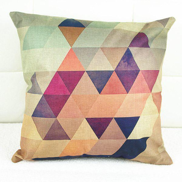Fashionable Colorful Geometric Printed Square Composite Linen Blend Pillow Case - COLORMIX