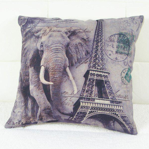 Simple Elephant and Eiffel Tower Printed Square Composite Linen Blend Pillow Case
