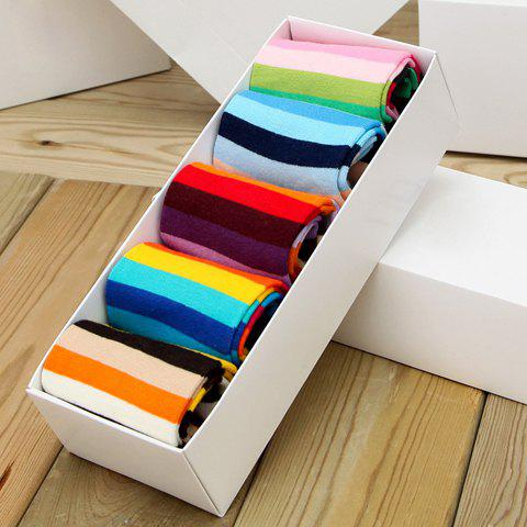 5 Pairs of Chic Colorful Stripe Pattern Women's Socks - COLORMIX