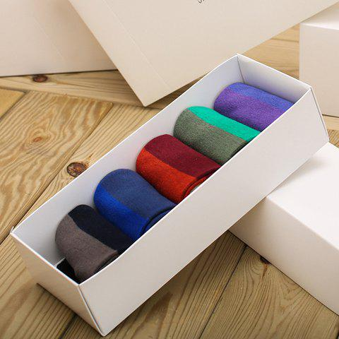 5 Pairs of Stylish Wide Stripe Pattern Multicolor Men's Socks - COLORMIX