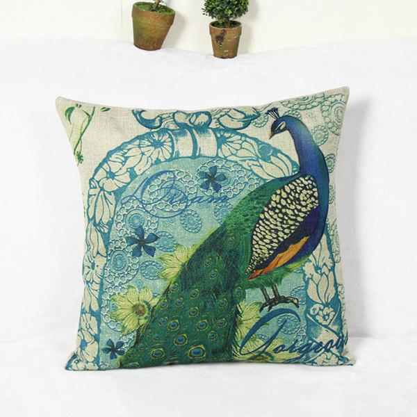 Retro Peacock and flower Pattern Home Hold Decorative Pillow Case -