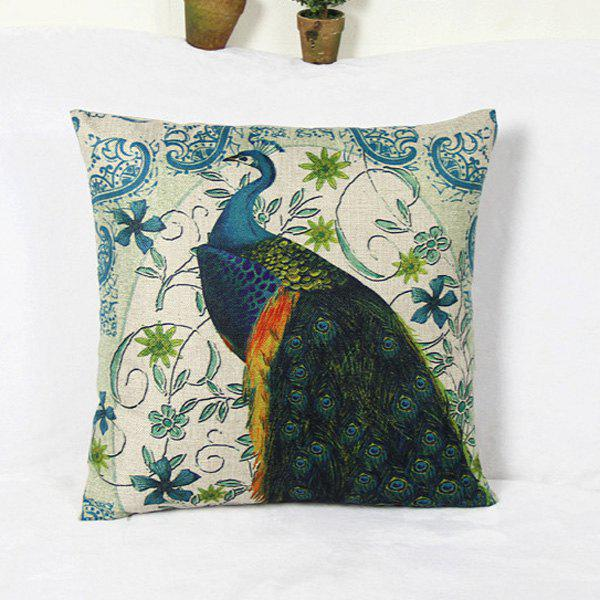 Retro Peacock and Blossom Pattern Home Hold Decorative Pillow Case - AS THE PICTURE