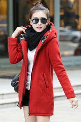 Stylish Hooded Long Sleeves Printed Slimming Hoodie For Women