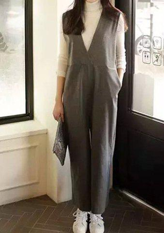 Fashionable Women's Plunging Neck Sleeveless Loose-Fitting Pure Color Jumpsuit - GRAY M