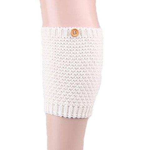 Pair of Chic Button Embellished Solid Color Women's Knitted Boot Cuffs - WHITE