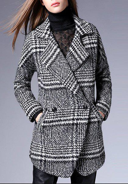 Chic Long Sleeve Turn-Down Neck Houndstooth Women's Coat