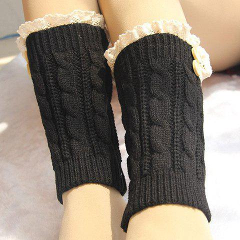 Pair of Chic Lace and Button Embellished Hemp Flowers Women's Knitted Boot Cuffs - BLACK