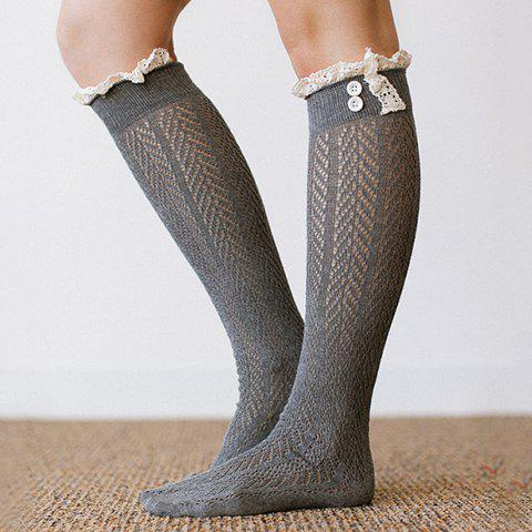 Pair of Chic Lace and Button Embellished Hollow Out Women's Stockings