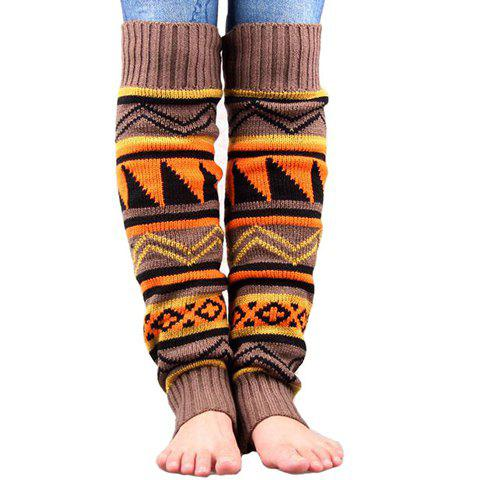 Pair of Chic Tribal Geometric Pattern Women's Knitted Leg Warmers - COFFEE