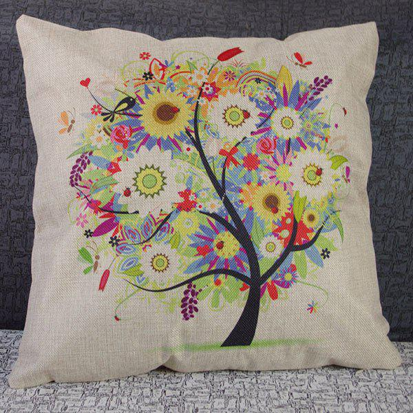 Cute Colorful Tree Printed Square Composite Linen Blend Pillow Case