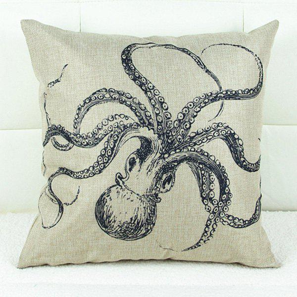 Fashionable Octopus Flower Printed Square Composite Linen Blend Pillow Case - WHITE/BLACK