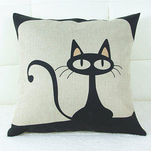 Sweet Cartoon Kitten Printed Square Composite Linen Blend Pillow Case - WHITE/BLACK