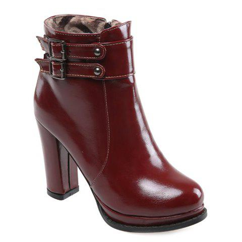 Simple Solid Color and Buckles Design High Heel Boots For Women - RED 37