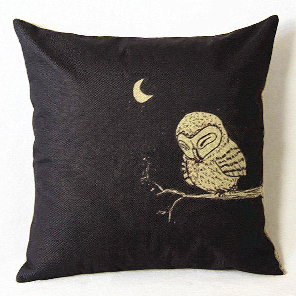 Chic Cartoon Owl Printed Square Composite Linen Blend Pillow Case - WHITE/BLACK