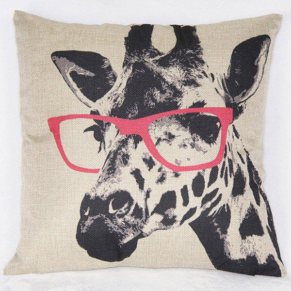 Fashionable Giraffe Pattern Printed Square Synthesis of Linen Pillow Case - COLORMIX