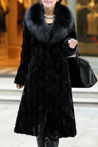 Fashionable Women's Black Turn-Down Collar Faux Fur Coat